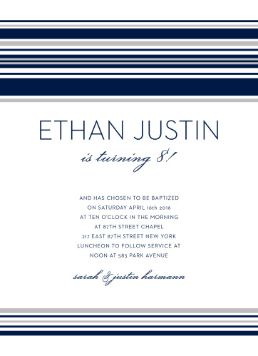 Lds baptism invitations match your color style free basic invite stellar stripes foil lds baptism invitations stopboris Choice Image