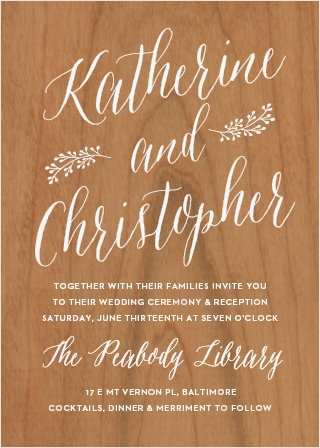Floral Calligraphy Wood Wedding Invitations