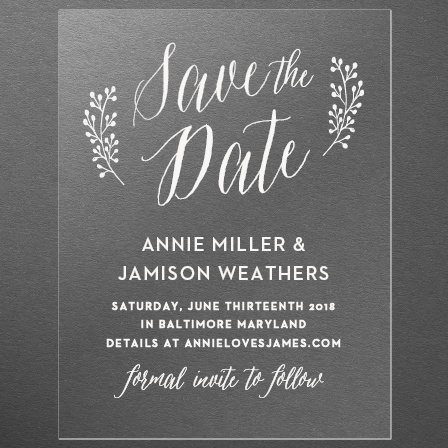 Floral Calligraphy Clear Save-the-Date Cards