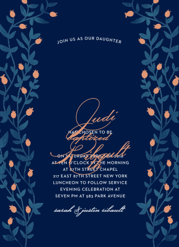 Enchanting vines with buds in gold, silver, or rose gold foil encircle your text on the Vintage Vines Foil LDS Baptism Invitations.