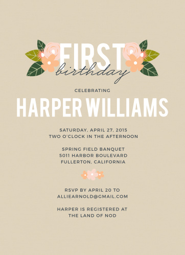 Kids birthday invitations kids birthday party invites basic invite herbaceous babe first birthday invitation filmwisefo
