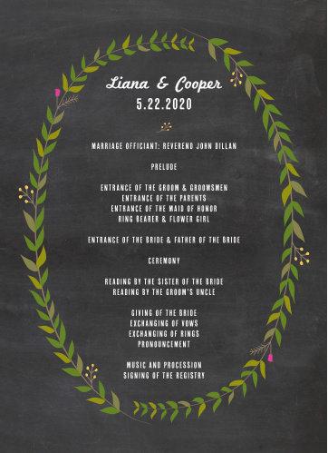 Chalkboard Wreath Wedding Programs are perfect for keeping your guests in on the loop.