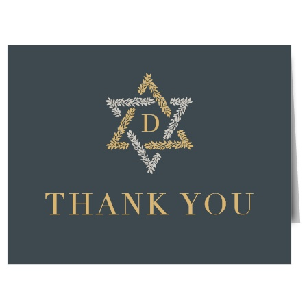With a design as simple as it is beautiful, Star of David Foil Bar Mitzvah Thank You Cards will ensure that your guests feel valued.