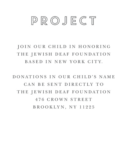 These matching Chalkboard Bar Mitzvah Project Cards are a perfect way to redirect your guests' donations.