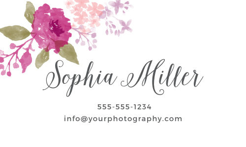 Watercolor florals adorn the top left corner of the Watercolor Wreath Business Cards.