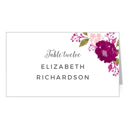 Watercolor-styled florals accent your guests' names on the Watercolor Wreath Place Cards.