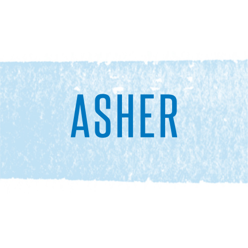The light blue watercolor stroke that's been brushed across our Watercolor Stripes Foil Bar Mitzvah Stickers makes a perfect background for your son's name in cool cobalt blue.