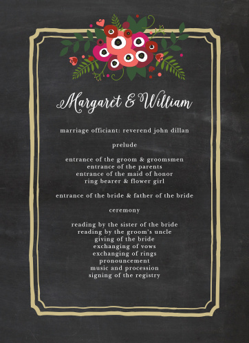 Elegantly framed by an ornate, gold-colored rectangle and topped with a gorgeous bouquet of multicolored flowers, these Chalkboard Blossom Wedding Programs are perfect for guiding your guests through each event in your ceremony.