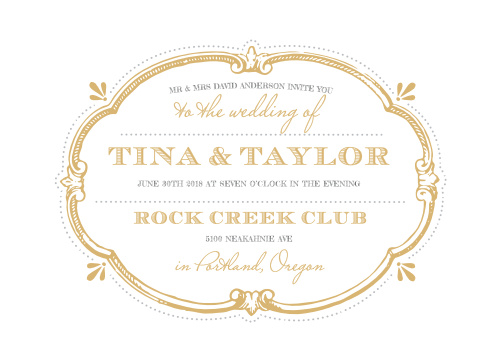 Invite your guests to your vintage themed wedding with the Vintage Label Foil Wedding Invitations.