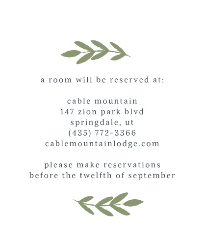 Our lovely Glimmering Garland Accommodation Cards are topped with spring-green leaves and written with a classic serif for easy-readability.