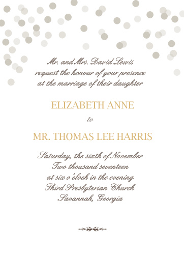 the glamorous confetti wedding invitation