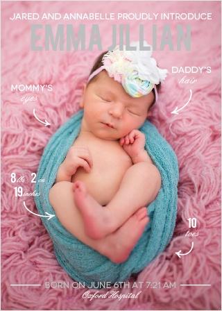 Arrow Stats Girl Foil Birth Announcements