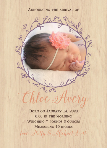 The Adorable Branch baby shower invitations have small budding branches above and below your important details giving this design the perfect rustic feel.