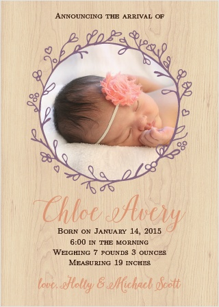 Adorable Branch Foil Birth Announcements