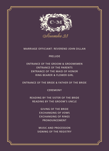 Help your guests follow along with every special moment of your wedding ceremony with our Style & Grace Foil Wedding Programs.