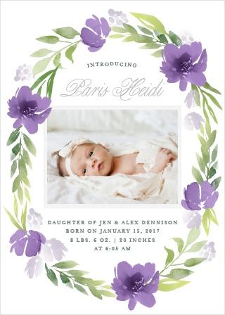 Floral Delight Foil Birth Announcements