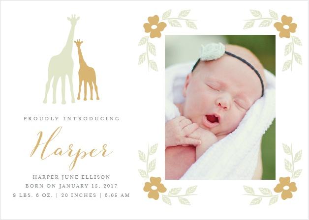 Delicate Giraffe Foil Birth Announcements