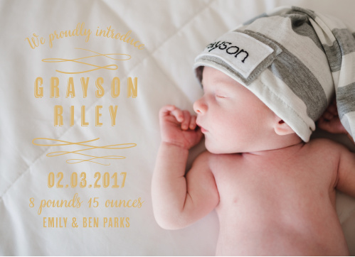 Share your little one's photo and birth details with the Baby Urbanite Birth Announcements from the Love Vs Design Collection at Basic Invite.