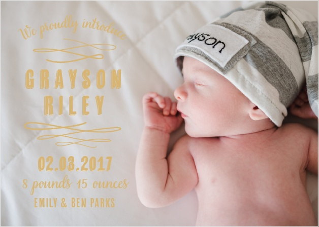 Baby Urbanite Foil Birth Announcements