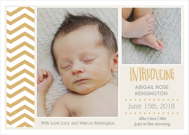 Chevron Headliner Foil Birth Announcements
