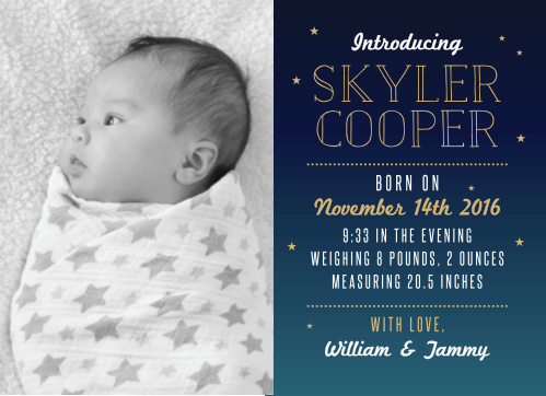 The Bright Night Foil Birth Announcements give you half the card to show off your new bundle of joy with a great big photo.