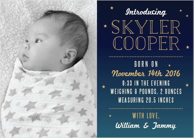 Bright Night Foil Birth Announcements