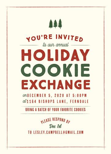 Deck the halls and invite your guests to your Holiday Cookie Exchange with the Vintage Sign Christmas Party Invitations.