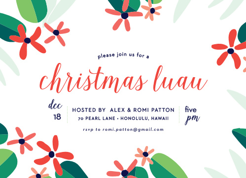 Christmas party invitations match your color style free basic totally tropical christmas party invitations stopboris