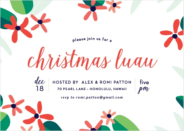 Tropical flowers and foliage border the Tropical Christmas Party Invitations.