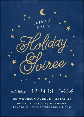 With a circle of celestial bodies to serve as its frame, the gently curving calligraphy of your Starry Night Foil Holiday Party Invitations is breathtaking against the undulating deep blues of the background.