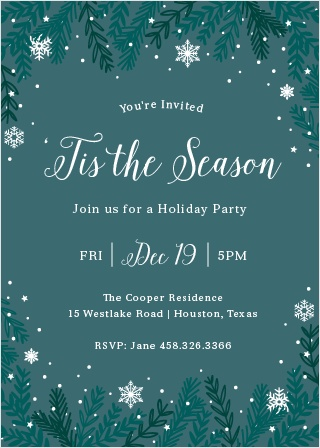 Let it Snow on your Holiday Party with the Snowy Night Holiday Party Invitation Cards.