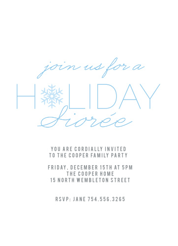 The Snowflake Soiree Holiday Party Invitations is the perfect invitation to any Holiday Party.