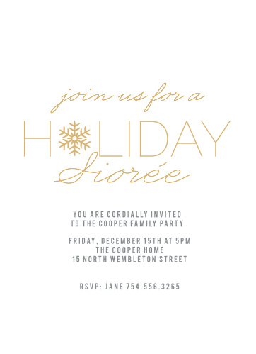 The Snowflake Soiree Foil Holiday Party Invitations is the perfect invitation to any Holiday Party.