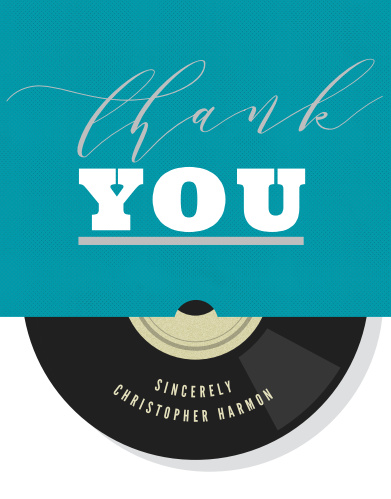 Share your appreciation with our Vinyl Record Foil Sweet Sixteen Party Thank You Cards.