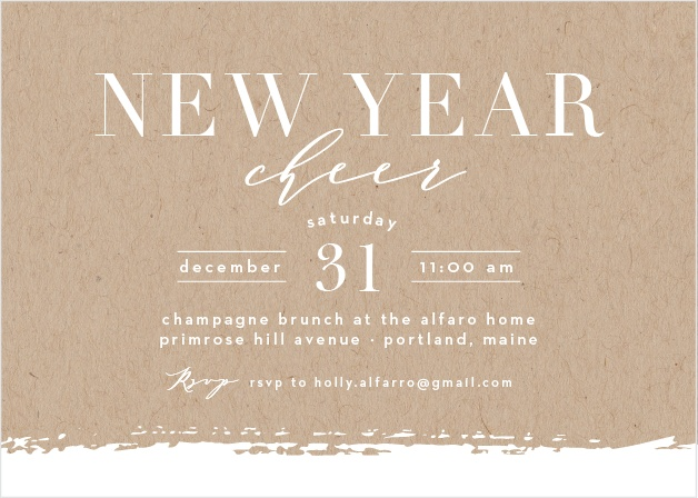 Ring in the New Year with the Simple New Year Holiday Party Invitation Cards.