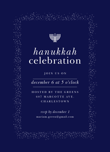Invite your guests to attend your Hanukkah Celebration with the Shine Bright Hanukkah Party Invitations.