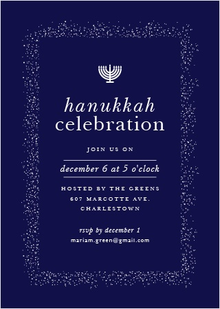 Invite your guests to attend your Hanukkah Celebration with the Shine Bright Holiday Party Invitation Cards.