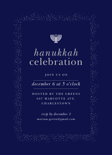 Invite your guests to attend your Hanukkah Celebration with the Shine Bright Foil Hanukkah Party Invitations