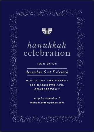 Invite your guests to attend your Hanukkah Celebration with the Shine Bright Foil Holiday Party Invitation Cards