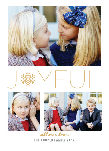 Make sure your family and friends receive your holiday greeting with the Snowflake Soiree Foil Holiday Cards.