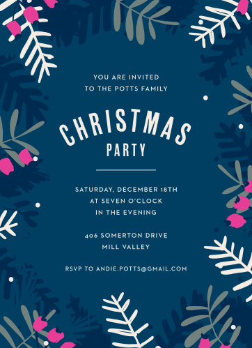 Featuring cheerful, timeless typefaces, a gorgeous deep blue background, and adorned with various evergreen branches and berries, our Blue Branches Christmas Party Invitations are a fantastically festive way to ensure that your loved ones join you at your party.