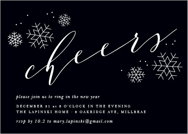 A rich black serves as the foundation for our Charcoal Chic Holiday Party Invitation Cards, graced by a collection of snowflakes and two beautiful typefaces.