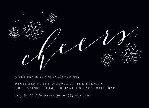 A rich black serves as the foundation for our Charcoal Chic New Year Party Invitations, graced by a collection of snowflakes and two beautiful typefaces.