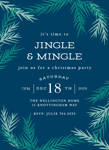 A dark cloud blue forms the background for your Cool Conifer Christmas Party Invitations.