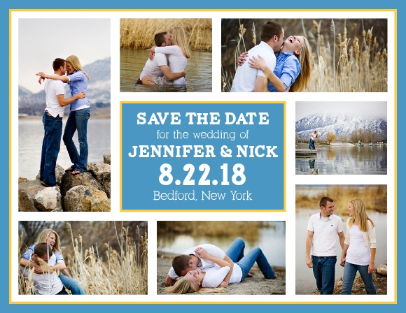 With room for seven of your favorite photographs, the Modern Photo Collage is a highly personal save the date card that uses your photos and bold accents to express the joy of your upcoming nuptials.