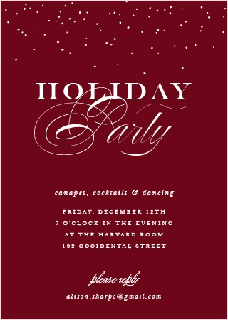 Festive Elegance Christmas Party Invitation Cards, in a deep tuscany red and contrasted with snowy white calligraphy and classic font, are a truly elegant way for you to welcome your loved ones this season.