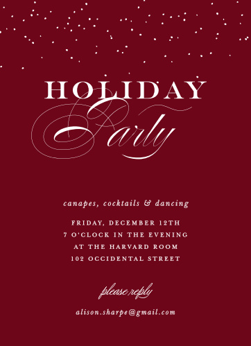 Festive Elegance Christmas Party Invitations, in a deep tuscany red and contrasted with snowy white calligraphy and classic font, are a truly elegant way for you to welcome your loved ones this season.