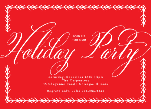 For our Fancy Calligraphy Holiday Party Invitations, we've created a beautiful contrast between the sheer white designs and the poppy-plant red background.