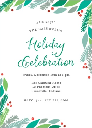 Send Pine Frame Holiday Party Invitation Cards to warm your family's hearts with an invitation to your winter celebration!