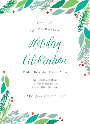 Send Pine Frame Holiday Party Invitations to warm your family's hearts with an invitation to your winter celebration!